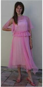 1980s pink chiffon dress