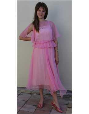 1980s pink chiffon dress