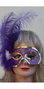 purple feather mask