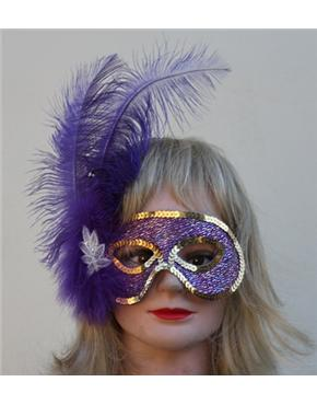 purple feather mask