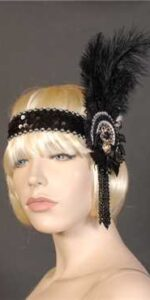1920 Headband Black and Silver