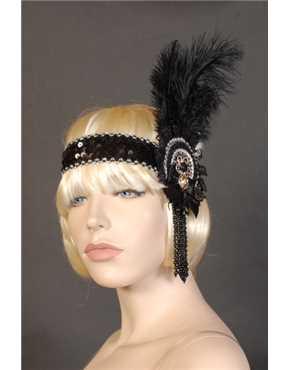 1920 Headband Black and Silver