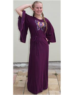 1970s purple embroidered dress