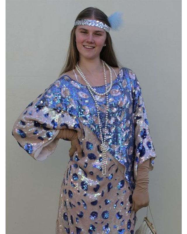 1920's Blue & Silver Sequined Dress Set
