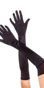 gloves long black satin lycra