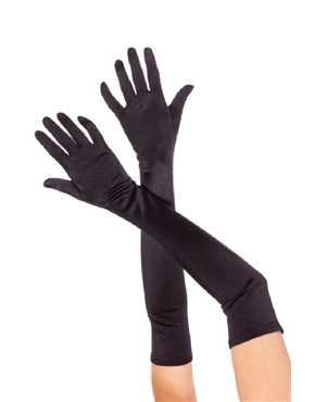 gloves long black satin lycra