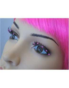 Eyelashes Black with Pink Beads
