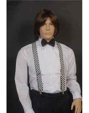 Suspenders Black & White Check