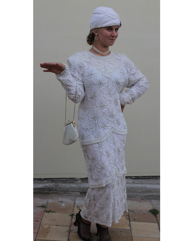1920s cream beaded dress