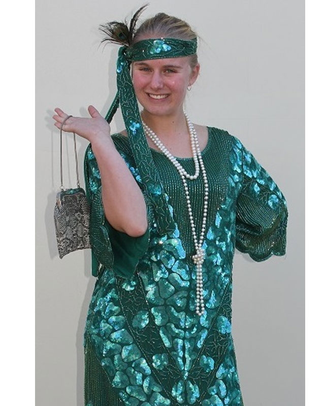 1920's Green Sequined Dress Set