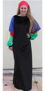 1970s black velvet with multi coloured sleeves