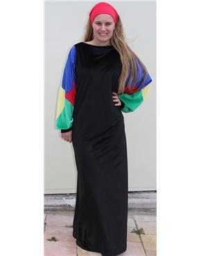 1970s black velvet with multi coloured sleeves