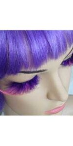 Eyelashes Purple and Pink Feathery