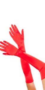 Gloves Long Red Satin Lycra