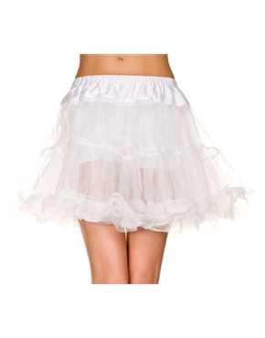 Petticoat Ruffle Trim Tulle White
