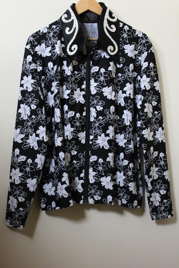 shirt black lycra white flowers