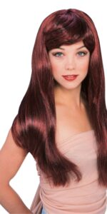 red with black streaks long wig