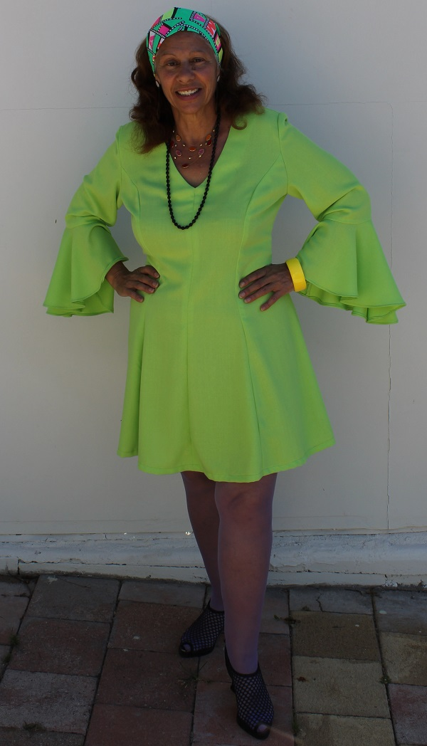 1970 green fluro dress