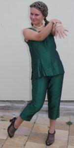 1960 green shot silk suit