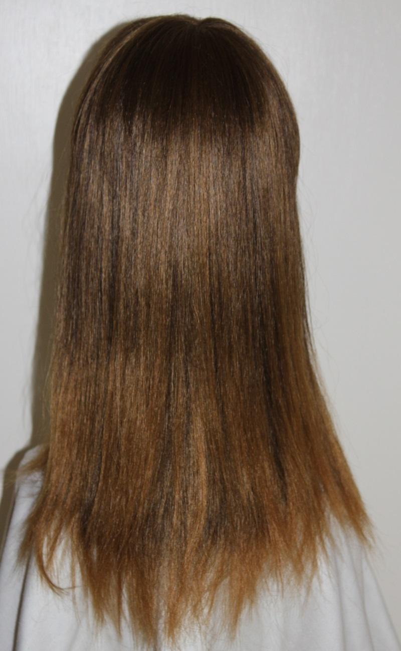 long brown fringe wig back