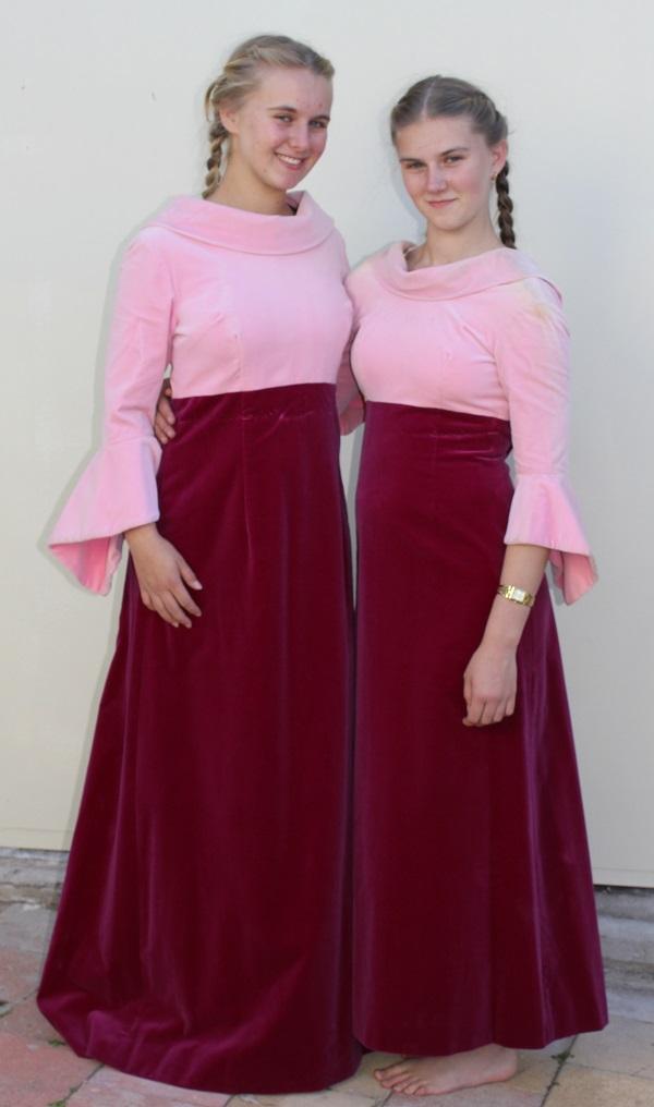 1970 velvet dress marron and pink