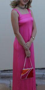 1970 bright pink long dress