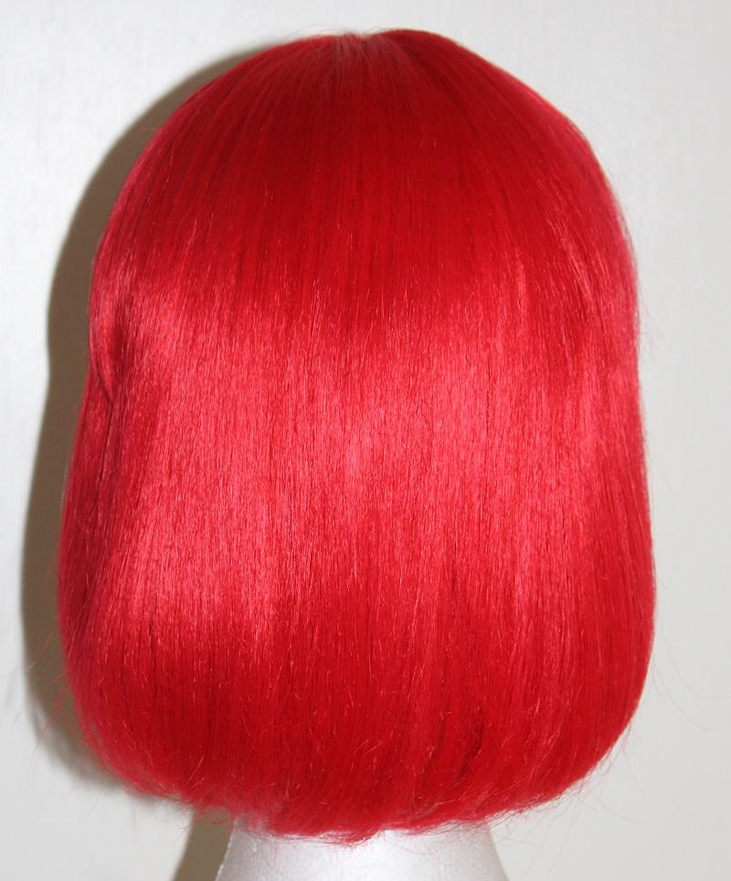 red shoulder bob wig back